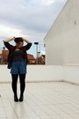 Denim-shirt-edc-shirt-zara-shorts-vintage-cardigan-demonia-heels-gold-mi