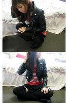 black jacket - black skirt - black socks - black shoes - red top