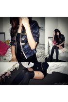 black voodoo socks - blue jacket - black shorts - black cotton on shirt