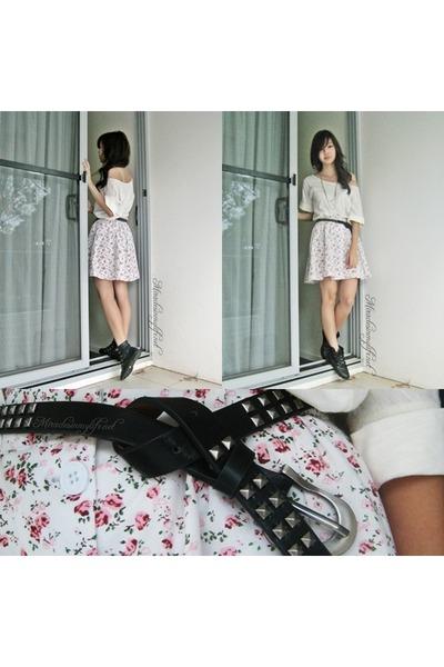 yellow Mango shirt - white DIY skirt - black belt - black boots