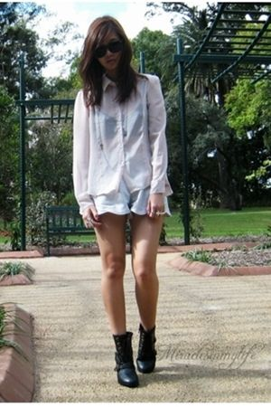 black boots - silver shorts - pink blouse - beige coat