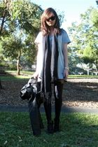 black House of Holland stockings - black scarf - silver dress - black boots - bl