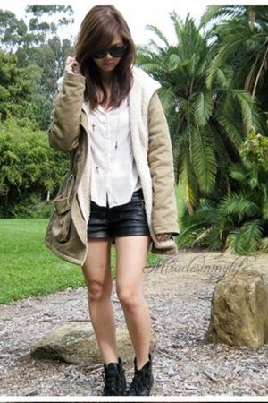 black Forever 21 shorts - black boots - beige coat - beige blouse - silver Forev