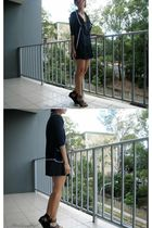 blue Valley Girl dress - blue cardigan - black shoes