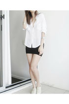 black skirt - white blouse - white shoes