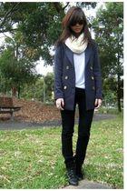 blue blazer - black Mango jeans - black boots