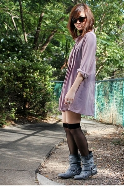 purple pleated vintage dress - gray Jimi loves Mimi boots