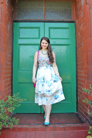 floral skirt Topshop skirt - H&M flats - warehouse top