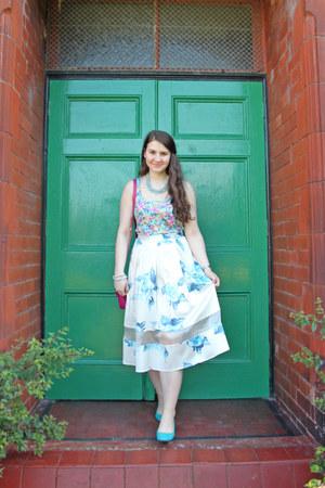 floral skirt Topshop skirt - H&M flats - warehouse top
