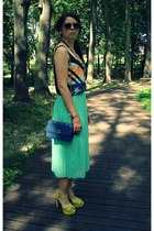 aquamarine new look skirt - blue Orsay bag - heather gray Ebay sunglasses