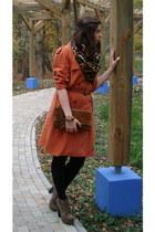 burnt orange Miss Selfridge coat - brown H&M scarf - dark brown Secondhand bag
