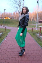 green no brand skirt - black Mohito jacket - gray New Yorker scarf