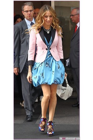 light pink blazer - black blazer - sky blue dress