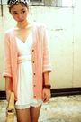 Pink-cardigan-white-top-white-top-beige-shoes-accessories