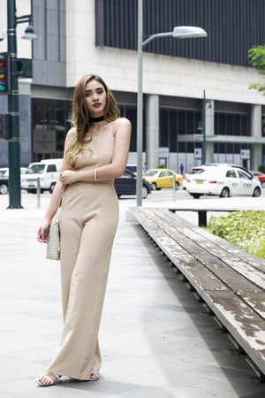 neutral wide leg In Love with Fashion bodysuit