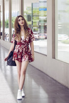 ruby red floral loose Light in the box romper - white Vans sneakers