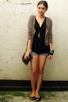 heather gray fuzzy Pink Manila cardigan - cut-off shorts - black Lux top