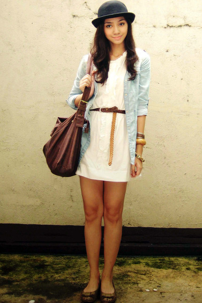black bowler hat - white dress - light blue denim top