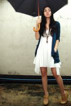 white dress - blue cardigan