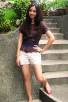 blue vintage blouse - beige from greenhills shorts - red Celine shoes