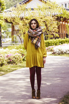 brown boots - mustard shirt dress H&M dress