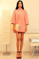 salmon Front Row Shop dress - salmon Stradivarius jacket - silver Zara bag