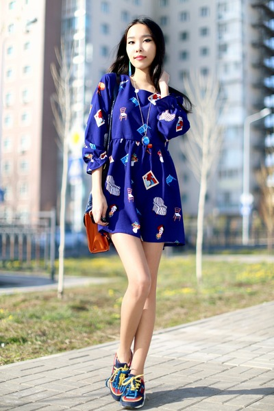 blue PERSUNMALL dress - orange New Yorker bag - navy Zara sneakers