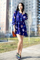 blue PERSUNMALL dress - orange New Yorker bag - navy Zara sneakers