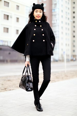 black Choies hat - black H&amp;M boots - black Stradivarius coat