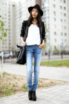 black Jeffrey Campbell boots - sky blue pull&bear jeans - black Topshop hat