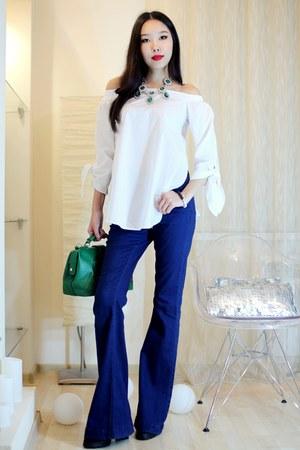 white Sheinside blouse - black Chandrah bracelet