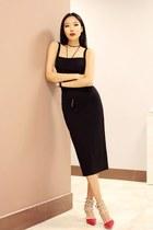 black Revolve dress - red zaful heels