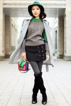 green Chicwish sweater - black Chicwish skirt