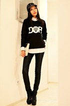 black OMGFashion jumper - black Jeffrey Campbell boots - black Zara hat