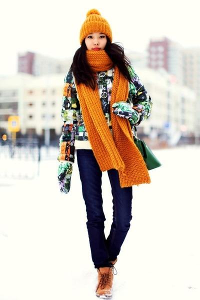yellow Zara scarf - teal Miss Sixty coat - yellow Zara hat