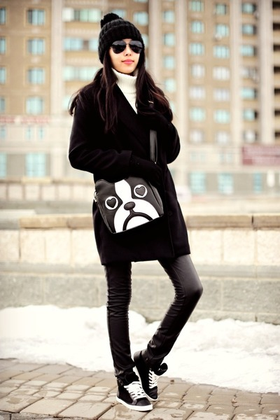 black Stradivarius coat - black Zara hat - black Mart of China bag