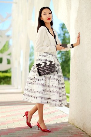 white Chicwish skirt - ruby red Jimmy Choo shoes - black Choies bag