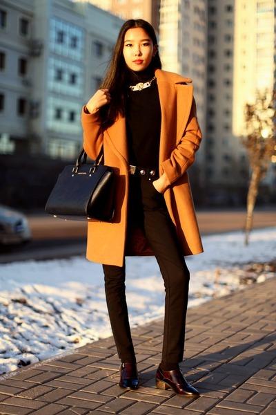 black Miista shoes - bronze Zara coat - black Michael Kors bag