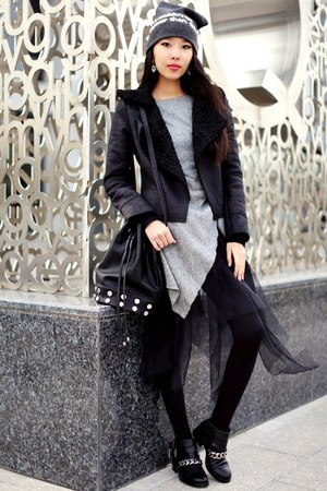 black Chicwish jacket - black Revolve bag - white Tippy Taste earrings