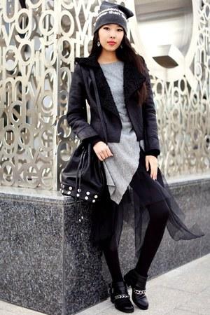 black Chicwish jacket - black Revolve bag - white Tippy Taste earrings