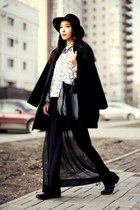 black Aldo boots - black Stradivarius coat - black Topshop hat