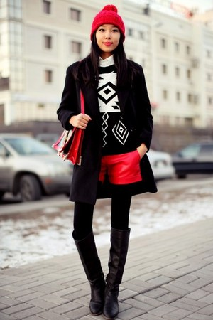 black OMGFashion jumper - black Stradivarius coat - red Zara hat
