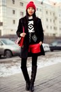 Black-stradivarius-coat-red-zara-hat-white-h-ampm-shirt