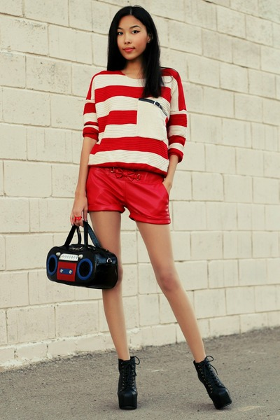 black Jeffrey Campbell boots - red Udobuy sweater