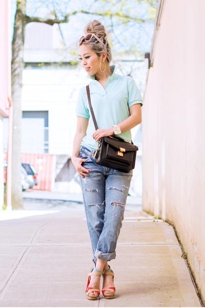 aquamarine polo Uniqlo shirt - sky blue boyfriend vivayou jeans