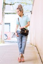 aquamarine polo Uniqlo shirt - sky blue boyfriend vivayou jeans
