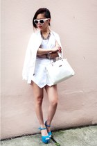 white mesh sleeve Urban Outfitters jacket - white skort Zara shorts