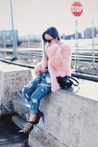 light pink faux fur THP Shop jacket - sky blue ripped One Teaspoon jeans