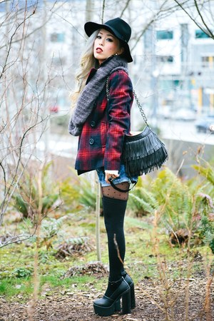 ruby red plaid Old Navy coat - black wide brim romwe hat
