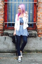 sky blue gingham asos skirt - silver oxfords JustFab shoes - navy Gap jeans